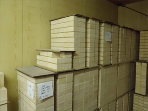 The masu cups are placed on pallets for storage